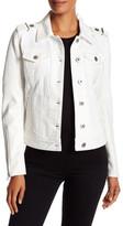 BCBGMAXAZRIA Denim & Faux Leather Moto Jacket