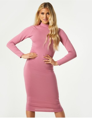 Little Mistress Alessio Rose Pink High-Neck Bodycon Midi Dress