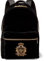 Dolce & Gabbana Embroidered Beaded Velvet Backpack - Black