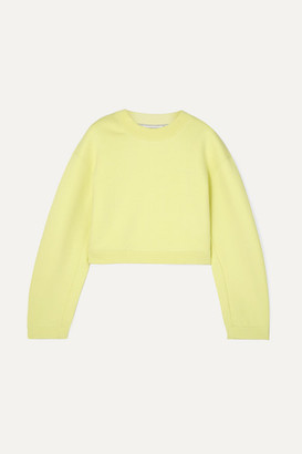 Alexander Wang Cropped French Cotton-terry Sweatshirt - Chartreuse