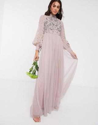 Maya high neck embellished maxi dress with bluson sleeve in pink