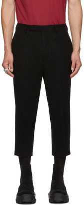 Rick Owens Black Slim Cropped Astaire Trousers