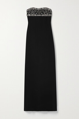 Reem Acra Strapless Crystal-embellished Tulle And Crepe Gown - Black