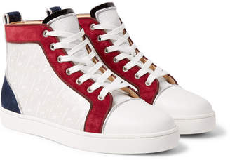 Christian Louboutin Louis Orlato Suede, Leather And Denim High-Top Sneakers