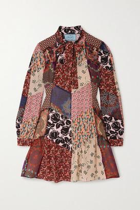 Prada Pussy-bow Patchwork Printed Silk-blend Crepe Mini Dress - Pink