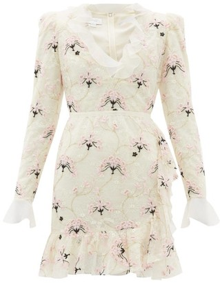 Giambattista Valli Floral-embroidered Chantilly Lace Mini Dress - Womens - Ivory Multi