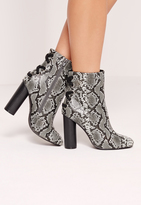 Missguided Snake Heeled Ankle Boot Grey