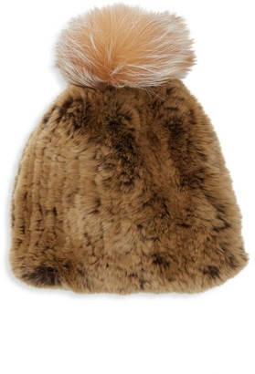 Saks Fifth Avenue Fox Fur Pom-Pom & Rabbit Fur Beanie