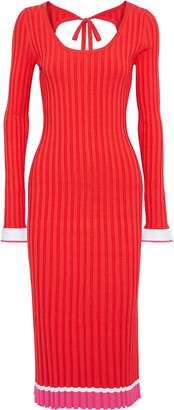 Prabal Gurung Striped Ribbed-knit Midi Dress