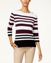 Karen Scott Petite Cotton Striped Zip-Shoulder Sweater, Created for Macy's