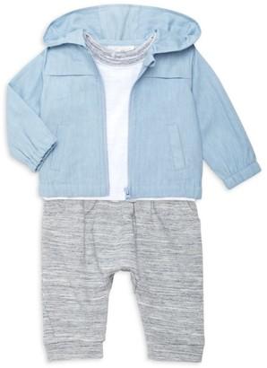 Miniclasix Baby Boy's 3-Piece Chambray Jacket, T-Shirt & Jogging Pants Set