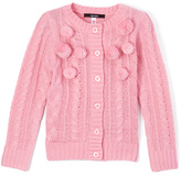 KensieGirl Prism Pink Pom-Pom Button-Up Cardigan - Girls