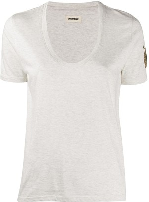 Zadig & Voltaire scoop neck embroidered sleeve T-shirt