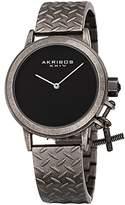 Akribos XXIV Women's Swiss Quartz Stainless Steel Casual Watch, Color:Grey (Model: AK966SSB)