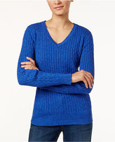 Karen Scott Petite Cable-Knit Marled Sweater, Only at Macy's