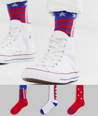 Asos Design DESIGN 3 pack sports socks in flag design save-White