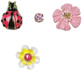 Betsey Johnson Garden Party Ladybug Flower 5-Set Earrings (Multi) - Jewelry