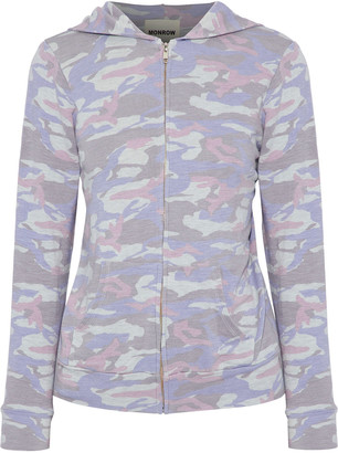 Monrow Printed Stretch-jersey Hooded Top