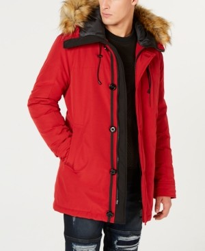 Men's Hooded Parka with Removable Faux Fur Trim