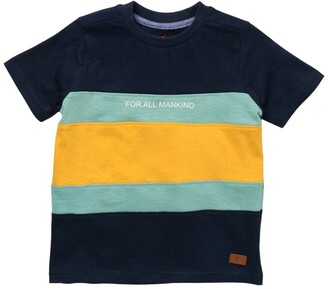 7 For All Mankind Crew Neck Slub Jersey Colorblock T-Shirt