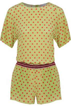 RED Valentino Lame-trimmed Polka-dot Silk Playsuit
