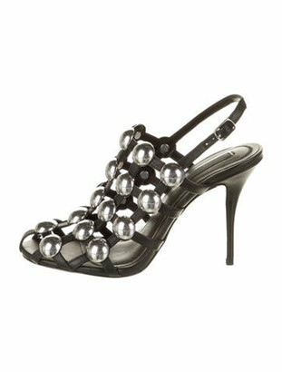 Alexander Wang Leather Studded Accents Slingback Sandals w/ Tags Black