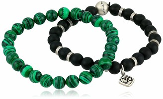 Steve Madden Men's Green and Black Beaded Om Charm Bracelet Set in Stainless Steel