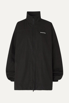 Balenciaga Printed Embroidered Cotton-poplin Jacket - Black