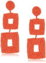 Kenneth Jay Lane Seedbead Double Square Drop Earrings