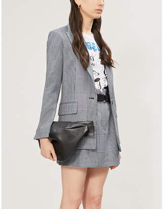 Maje Vadim padded-shoulders checked woven blazer