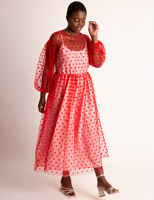 ELOQUII Sheer Dot Maxi With Puff Sleeves