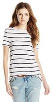 Three Dots Women's Capri Stripe Short Sleeve Crew Neck T Shirt