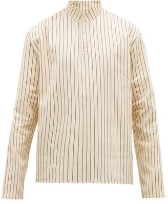 Hecho - Mandarin Collar Striped Cotton Shirt - Mens - Cream