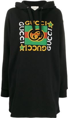 Gucci Multicolored Print Logo Hoodie Dress