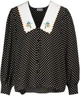 Thumbnail for your product : Rixo Lila polka-dot silk blouse