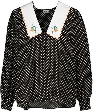 Rixo Lila polka-dot silk blouse