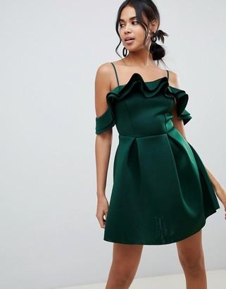 Asos Design DESIGN Strappy Ruffle Scuba Prom Mini Dress