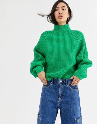 Weekday Angel funnel neck jumper in green