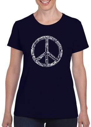 Los Angeles Pop Art Women's THE WORD PEACE IN 77 LANGUAGES T-Shirt