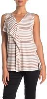 Donna Karan V-Neck Ruffle Trim Stripe Tank Top