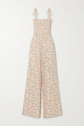 Vix Spring Romance Shirred Floral-print Stretch-crepe Jumpsuit - Beige