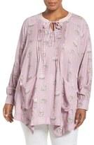 Melissa McCarthy Plus Size Women's Pintuck Nest Print Pocket Blouse