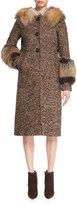 Michael Kors Herringbone Tweed Coat w/Fox Fur Trim, Brown