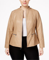 Alfani Plus Size Faux-Leather Moto Jacket, Only at Macy's