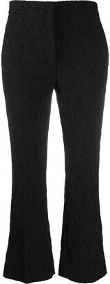 Rochas Cropped Kick-Flare Matelasse Trousers