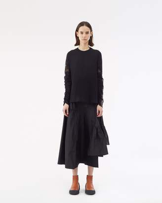 3.1 Phillip Lim Long Sleeve T-Shirt with Lace Sleeve