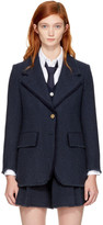 Thom Browne Navy Herringbone Wide Lapel Blazer