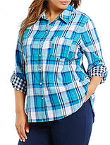 Allison Daley Plus Roll-Tab Sleeve Button Front Plaid Shirt