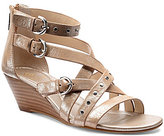 Isola Petra Metallic Leather Banded Double Buckle Wedge Sandal