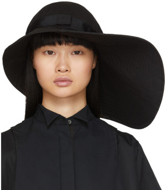 Sacai Black Wide Brim Beach Hat